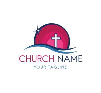Church Cross Logo With Bcard Template