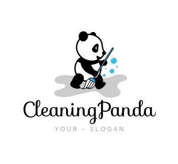 Cleaning Panda Logo & Business Card Template