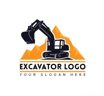Simple Excavator Truck Logo & Business Card