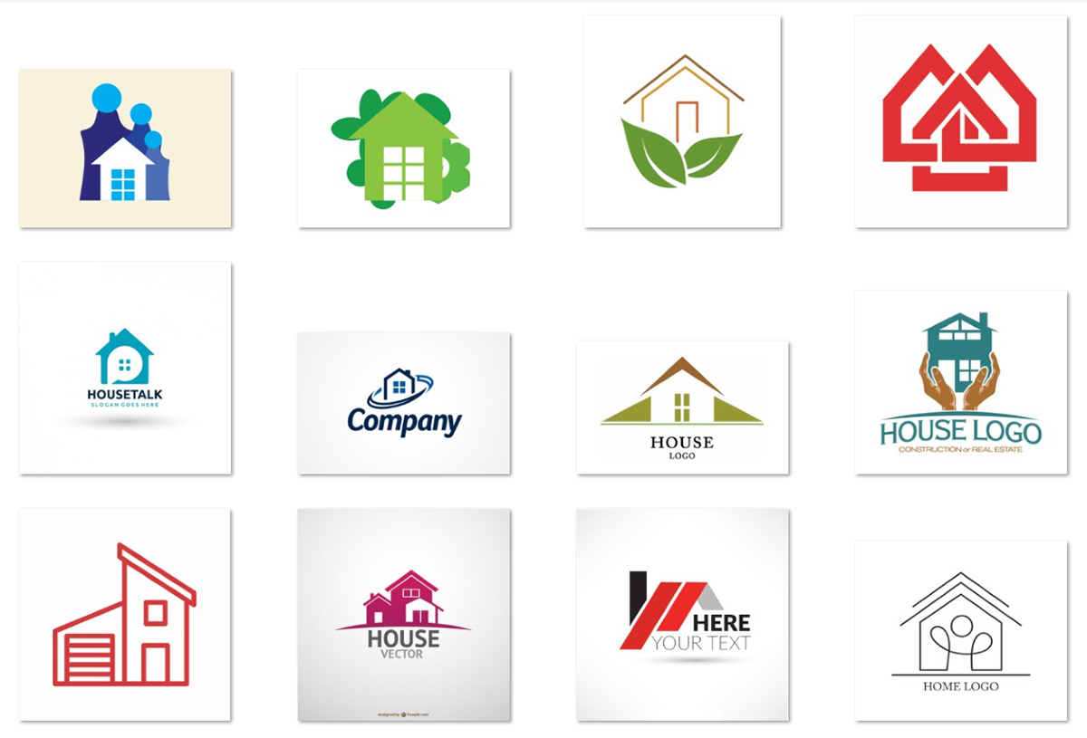 15 free vector house logos for start ups for Household design company