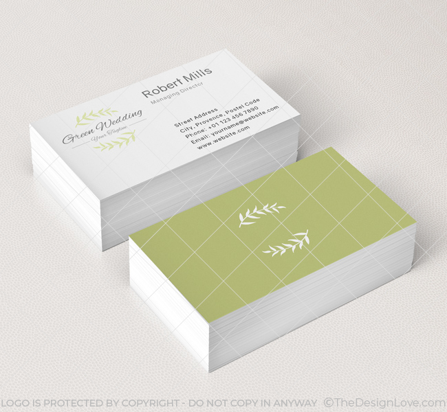 Green wedding logo business card template the design love green wedding business card mockup 1 colourmoves