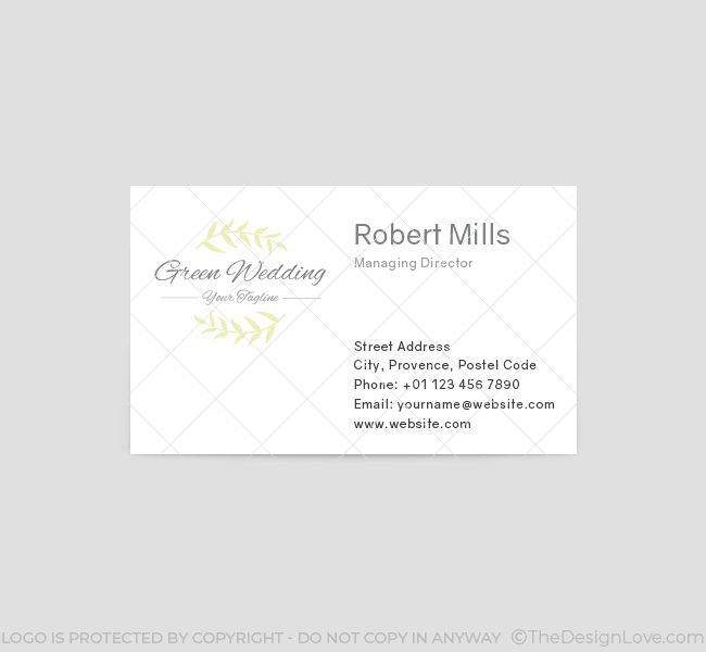 Green wedding logo business card template the design love green wedding business card template front fbccfo Choice Image