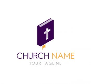 Church Logo With Bible Template