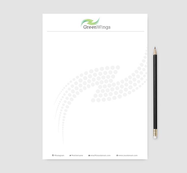 011-Green-Wings-Logo-Template-Letter-head