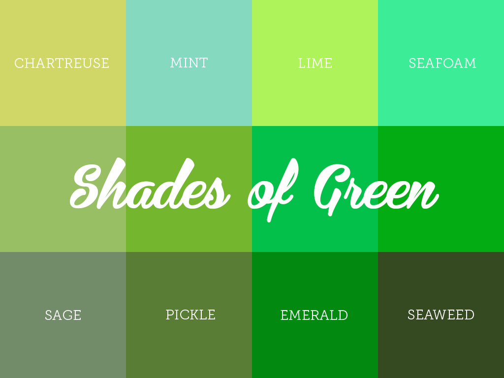Understanding the different shades of green for Colors shades of green