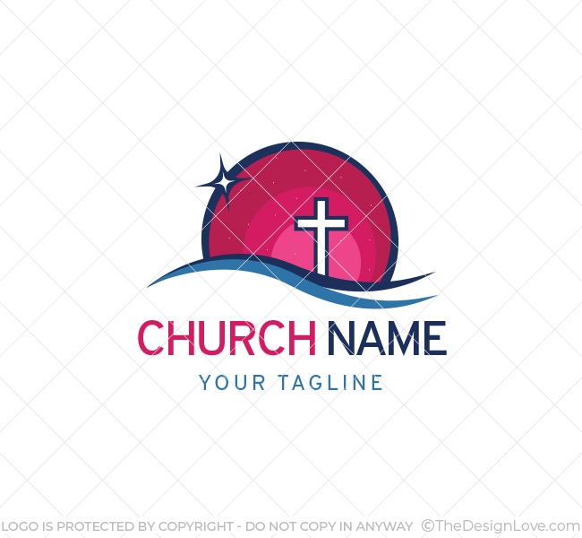 church cross logo with bcard template the design love