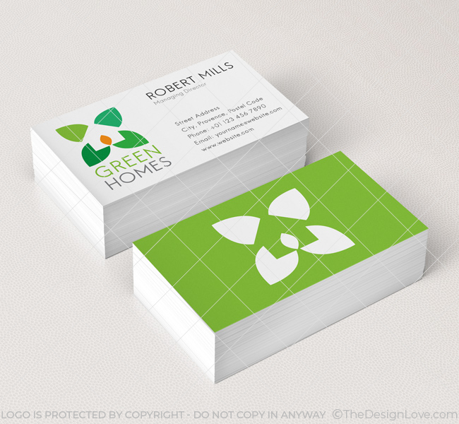 Green home design logo template the design love 015 green home design logo business card template reheart Images