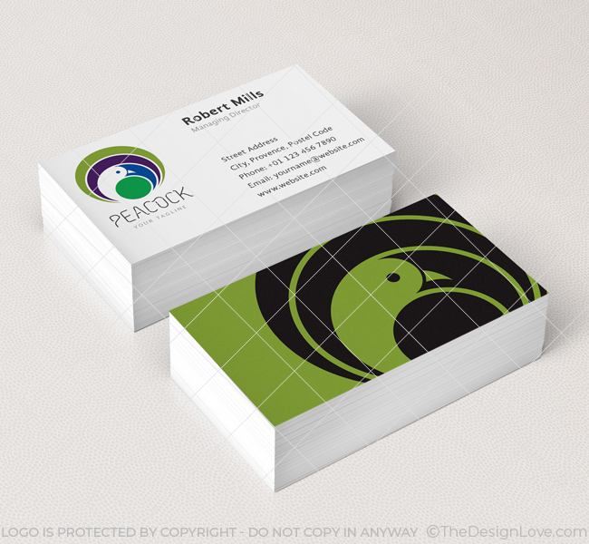 022-Peacock-Logo-&-Business-Card-Template