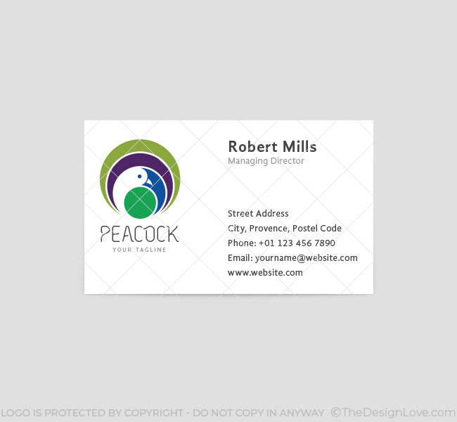 022-Peacock-Logo-&-Business-Card-Template-Front