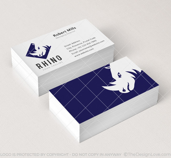 Rhino logo business card template the design love 023 rhino logo business card template wajeb Choice Image