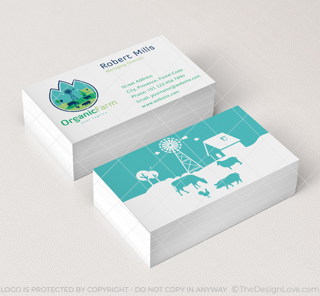 Organic farm logo business card template the design love organic farm logo business card template reheart Gallery