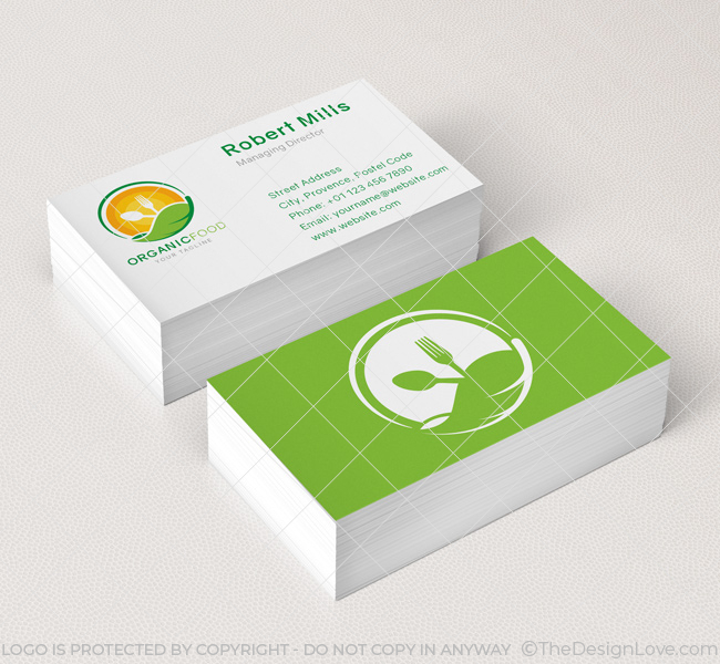 Organic food logo business card template the design love organic food logo business card template fbccfo Images