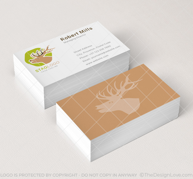 027-Stag-Head-Logo-&-Business-Card-Template