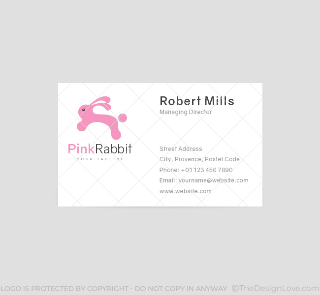 029-Pink-Rabbit-Logo-&-Business-Card-Template-Front