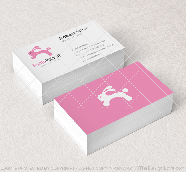 Pink rabbit logo business card template the design love 029 pink rabbit logo business card template colourmoves