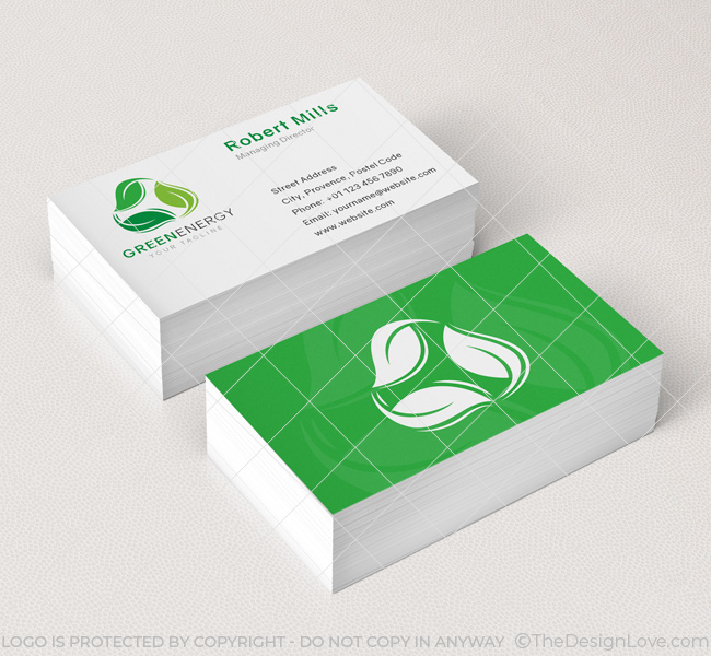 Green energy logo business card template the design love 030 green energy logo business card template reheart Images