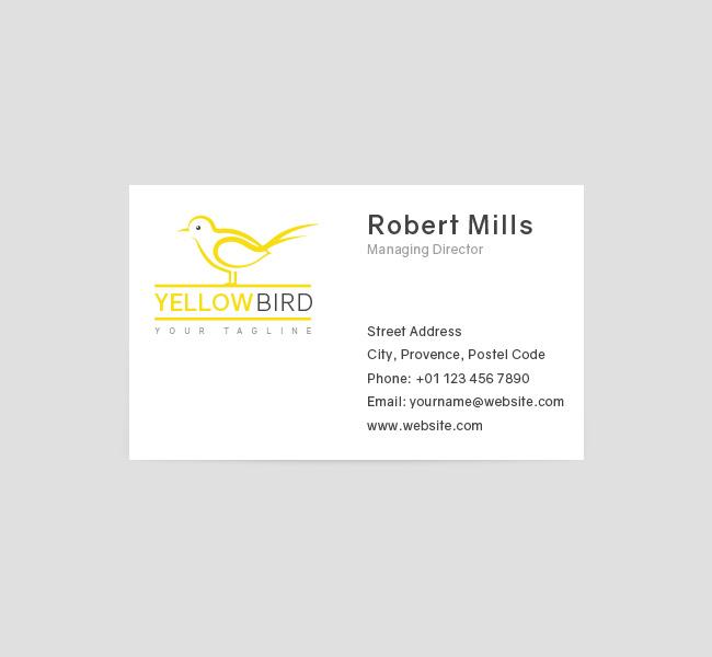 031-Yellow-Bird-Logo-&-Business-Card-Template-Front