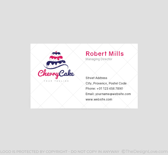 034-Cherry-Cake-Logo-&-Business-Card-Template-Front