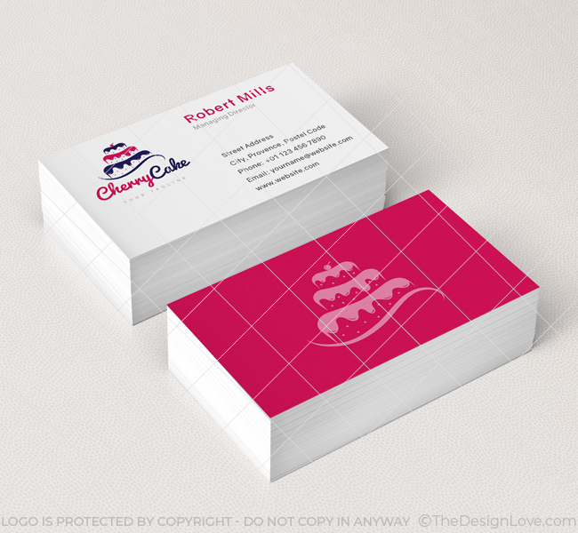 Cherry Cake Logo Business Card Template The Design Love - Cake business card template