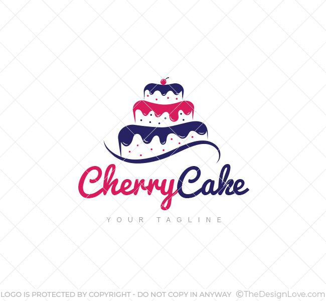 Cake Images For Logo : Cherry Cake Logo & Business Card Template - The Design Love