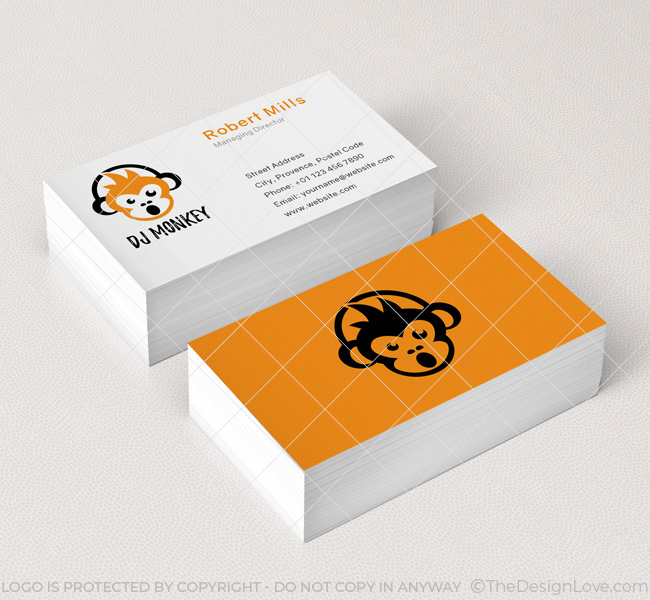 Dj monkey logo business card template the design love 036 dj monkey logo business card template reheart Choice Image
