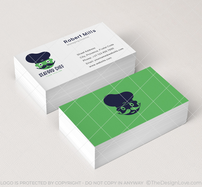 Seafood chef logo business card template the design love 037 seafood chef logo business card template colourmoves