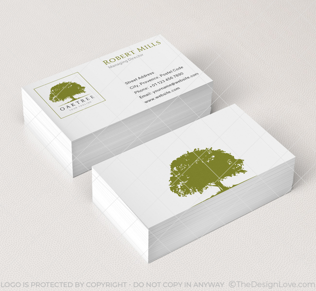 040 oak tree logo business card template