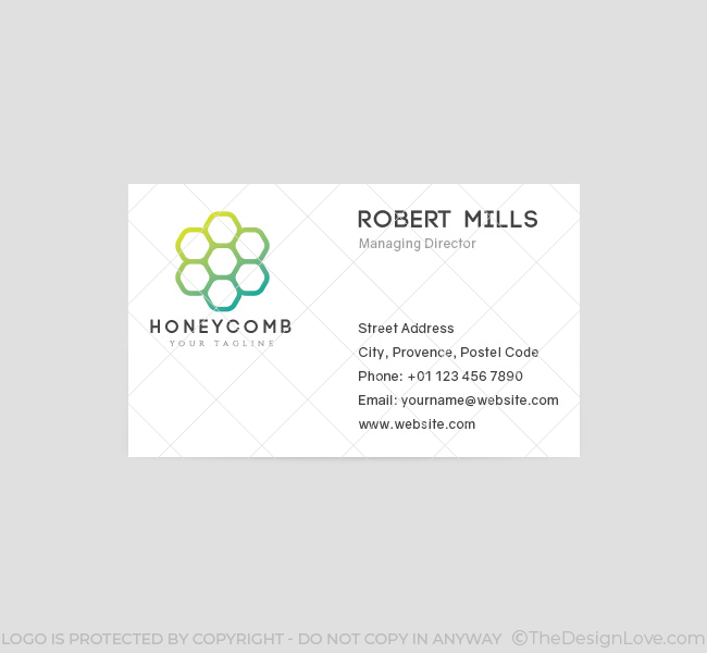 041-Honeycomb-Logo-&-Business-Card-Template-Front