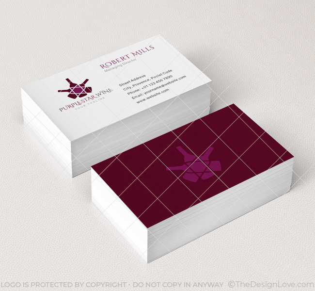 053-Purple-Star-Wine-Logo-&-Business-Card-Template