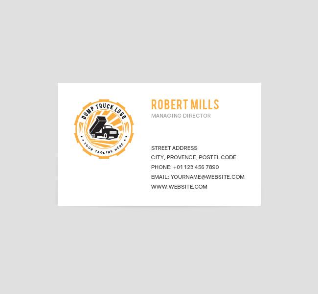 Dump Truck Logo Business Card Template The Design Love