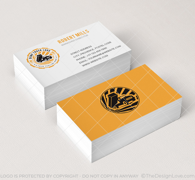 Dump truck logo business card template the design love dump truck logo business card template reheart Gallery