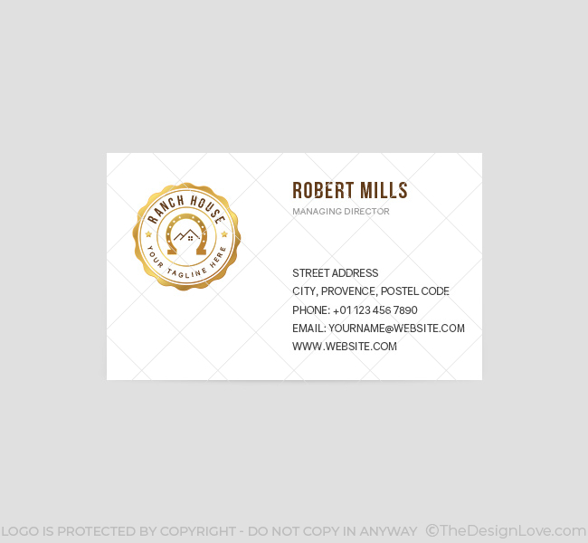 060-Ranch-House-Logo-&-Business-Card-Template-Front