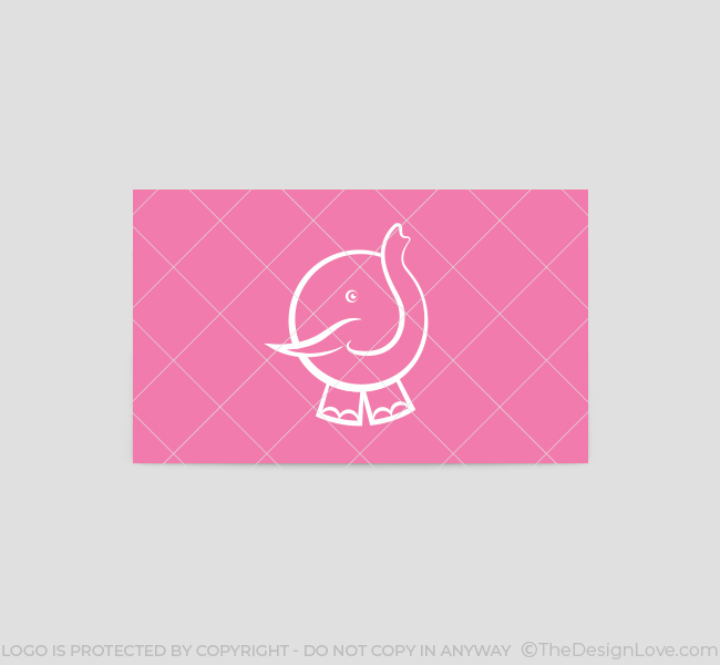 065-Pink-Elephant-Logo-&-Business-Card-Template-Back
