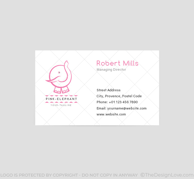 065-Pink-Elephant-Logo-&-Business-Card-Template-Front