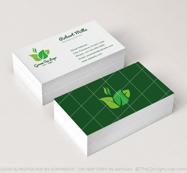 Green tea logo business card template the design love 068 green tea logo business card template wajeb Gallery