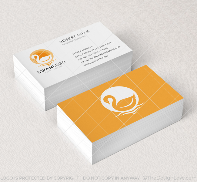 The swan logo business card template the design love 073 the swan logo business card template reheart Choice Image