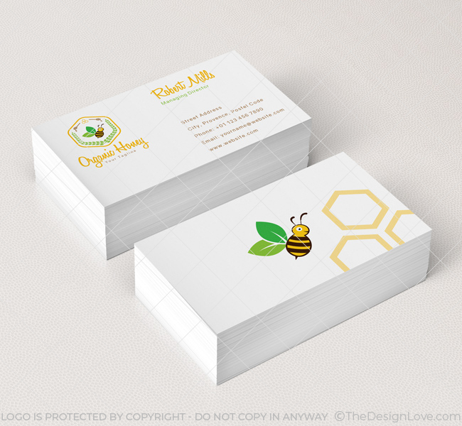 organic honey logo  u0026 business card template