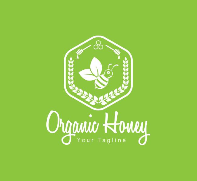 080-Pre-Made-Organic-Honey-Logo-White