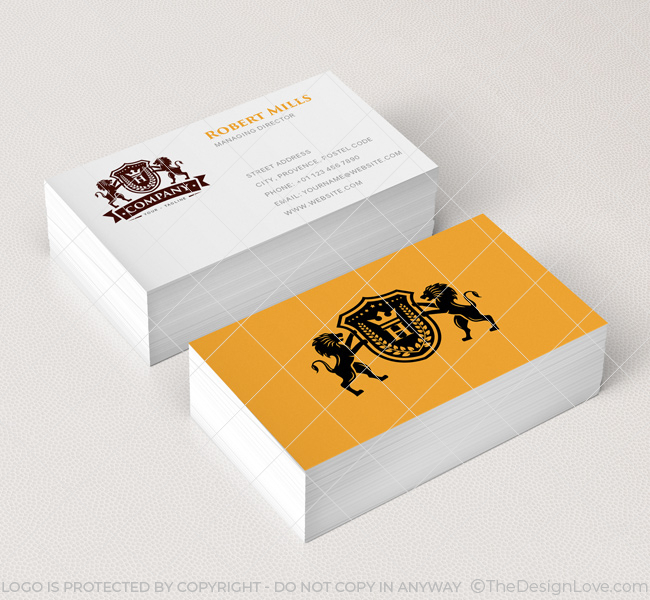 Lion Crest With Crown Logo Amp Business Card Template The