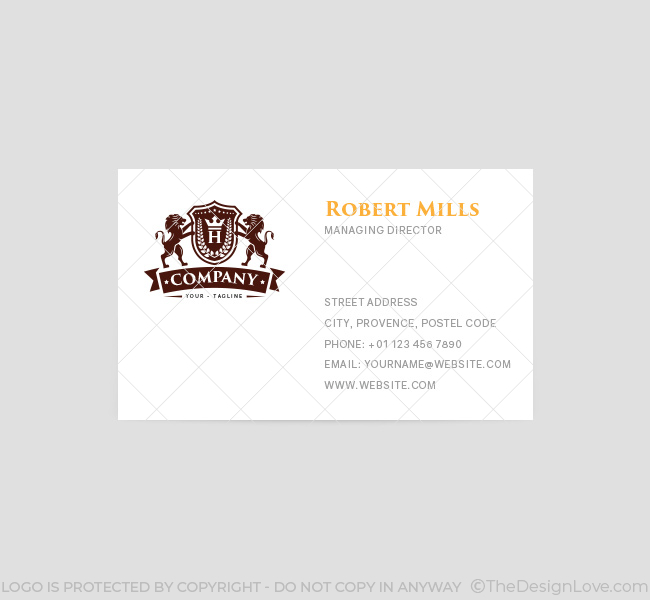 lion crest with crown logo  u0026 business card template