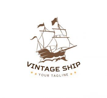 Vintage Ship Logo & Business Card Template