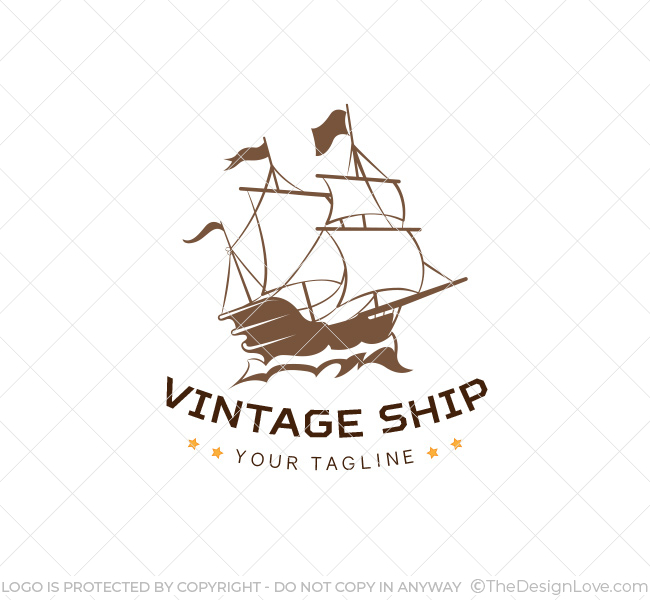 vintage ship logo business card template the design love. Black Bedroom Furniture Sets. Home Design Ideas