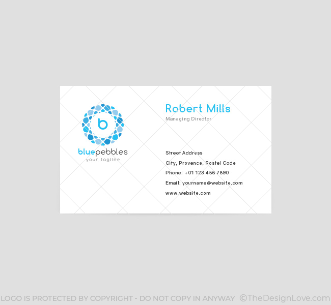 Blue pebbles logo business card template the design love for Blue business card template