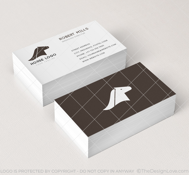 horse head logo business card template the design love. Black Bedroom Furniture Sets. Home Design Ideas