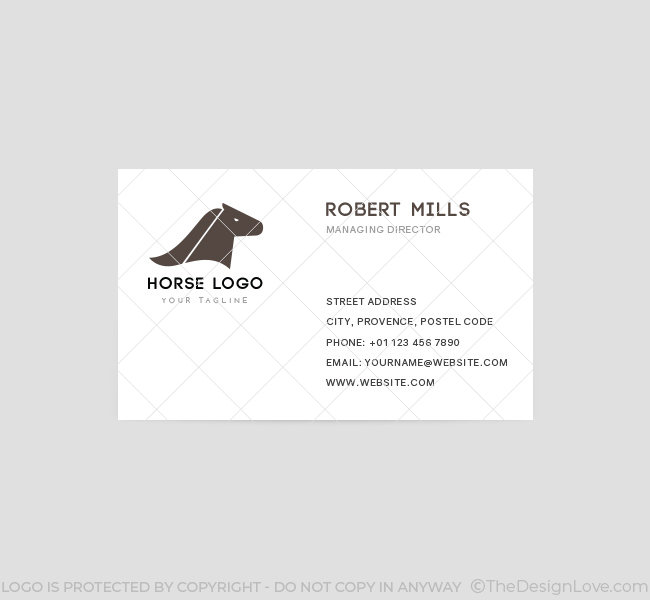 Horse head logo business card template the design love horse head business card template front colourmoves
