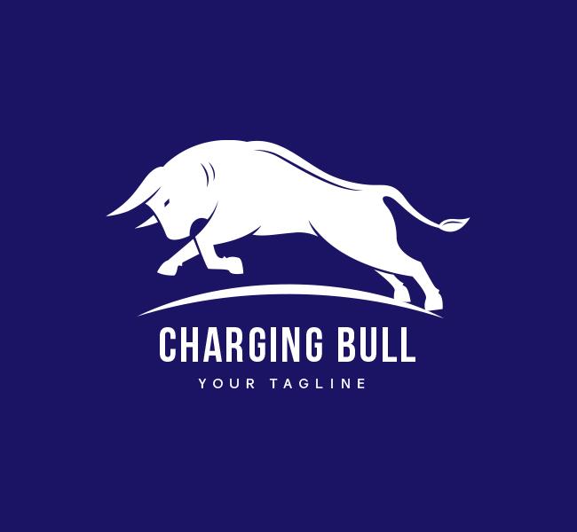 Pre-Desgned-Charging-Bull-Logo-White