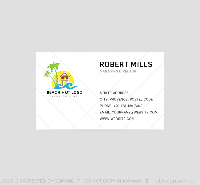 Beach hut logo business card template the design love beach hut business card template front reheart