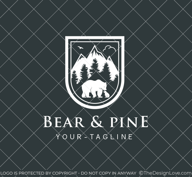 Bear in Pine Forest Logo
