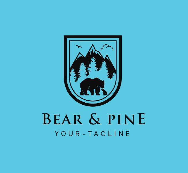 Bear and Pine Tree Logo