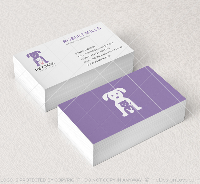 Pet store business cards arts arts pet care logo business card template the design love colourmoves